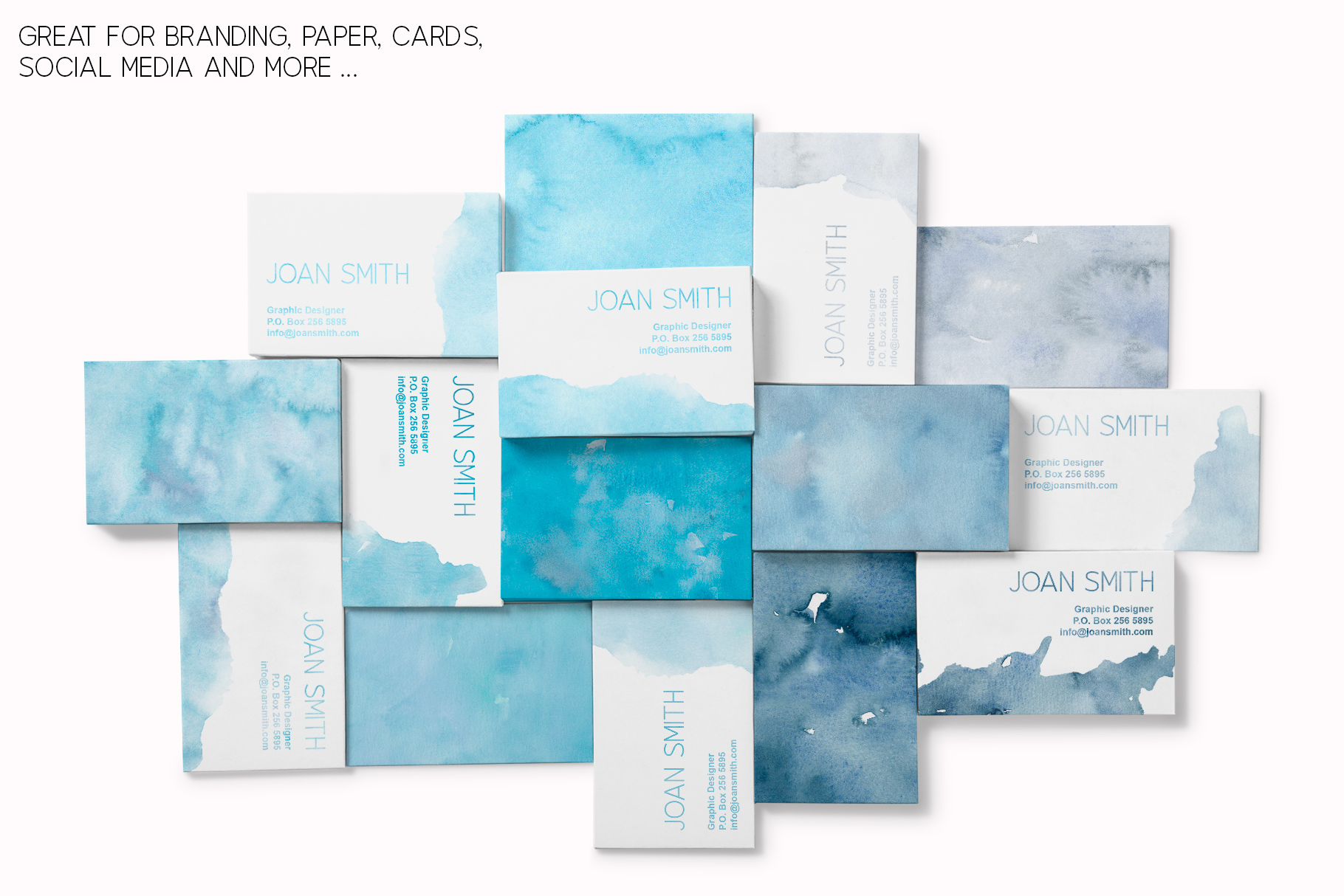 20 Huge Seamless Blue Watercolor Textures example image 7