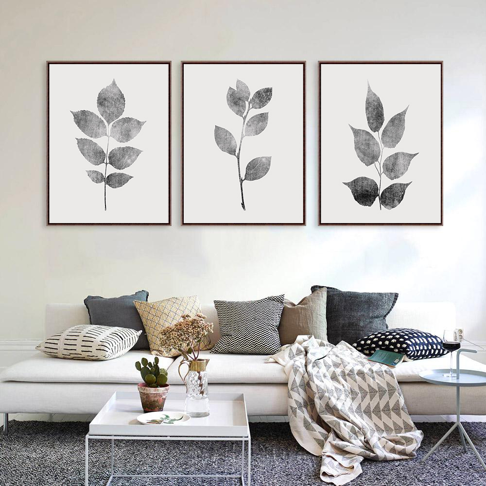 Gray Leaf Print, Botanical Print Set of 3, Gray Wall Art Set example image 2