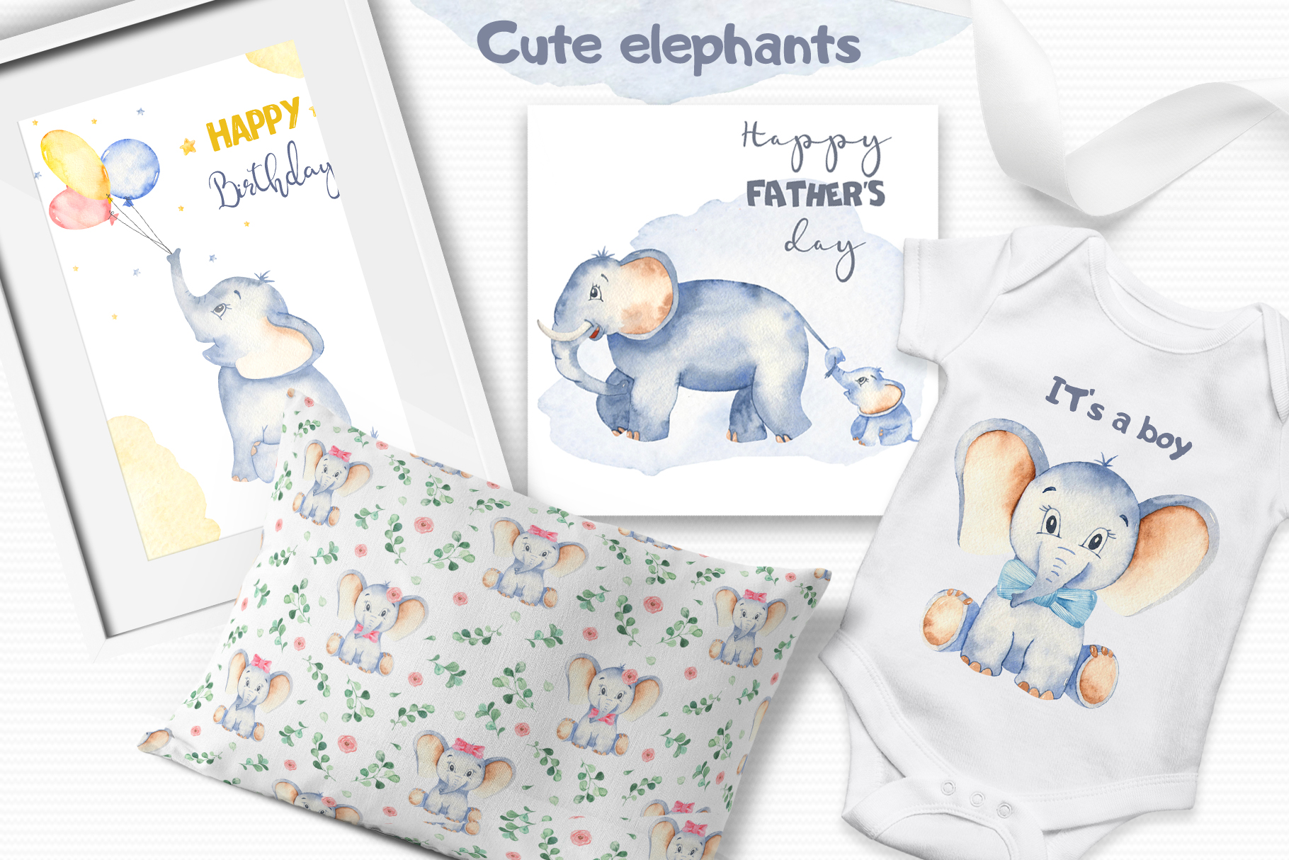 Cute elephants watercolor collection clipart example image 6