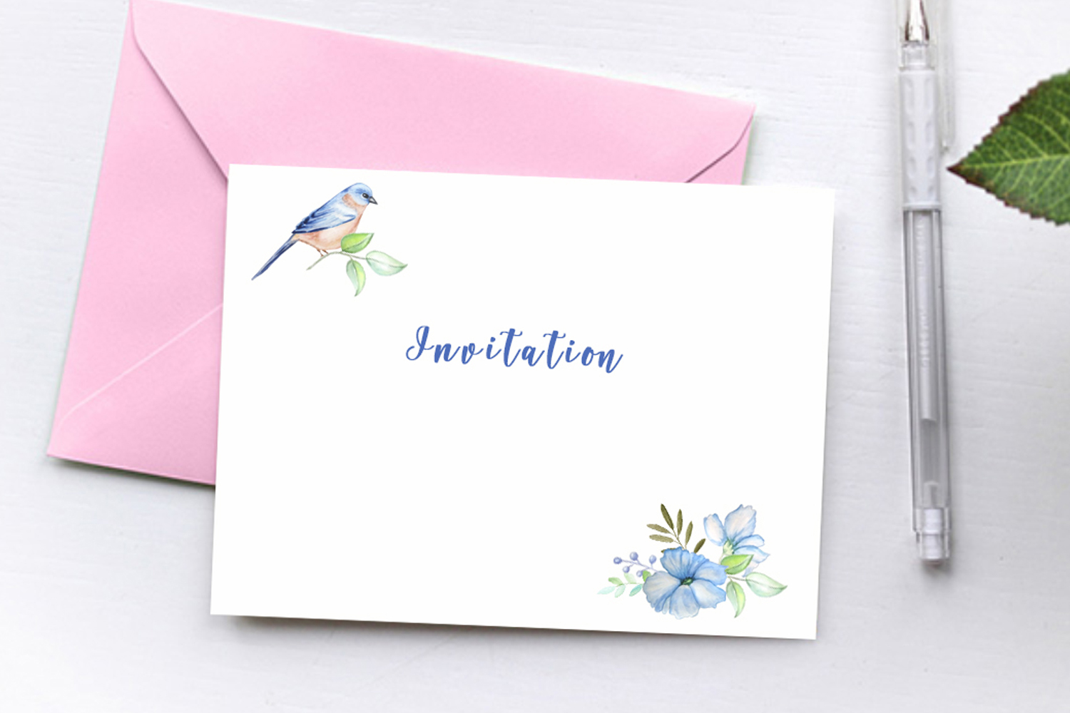 Bird and Flowers Peony Watercolor Clipart example image 8