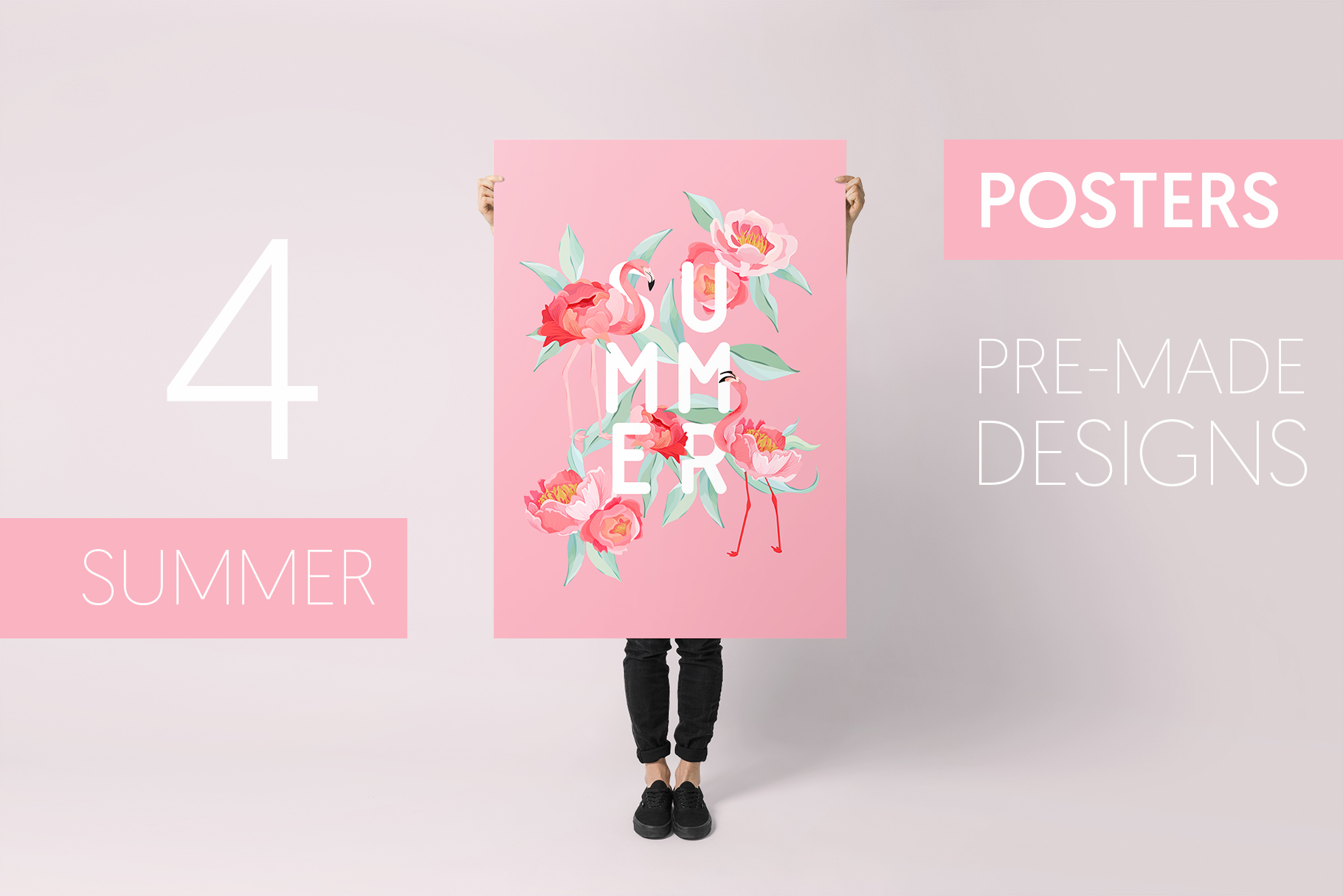 Flamingo and Flowers Design Kit example image 2