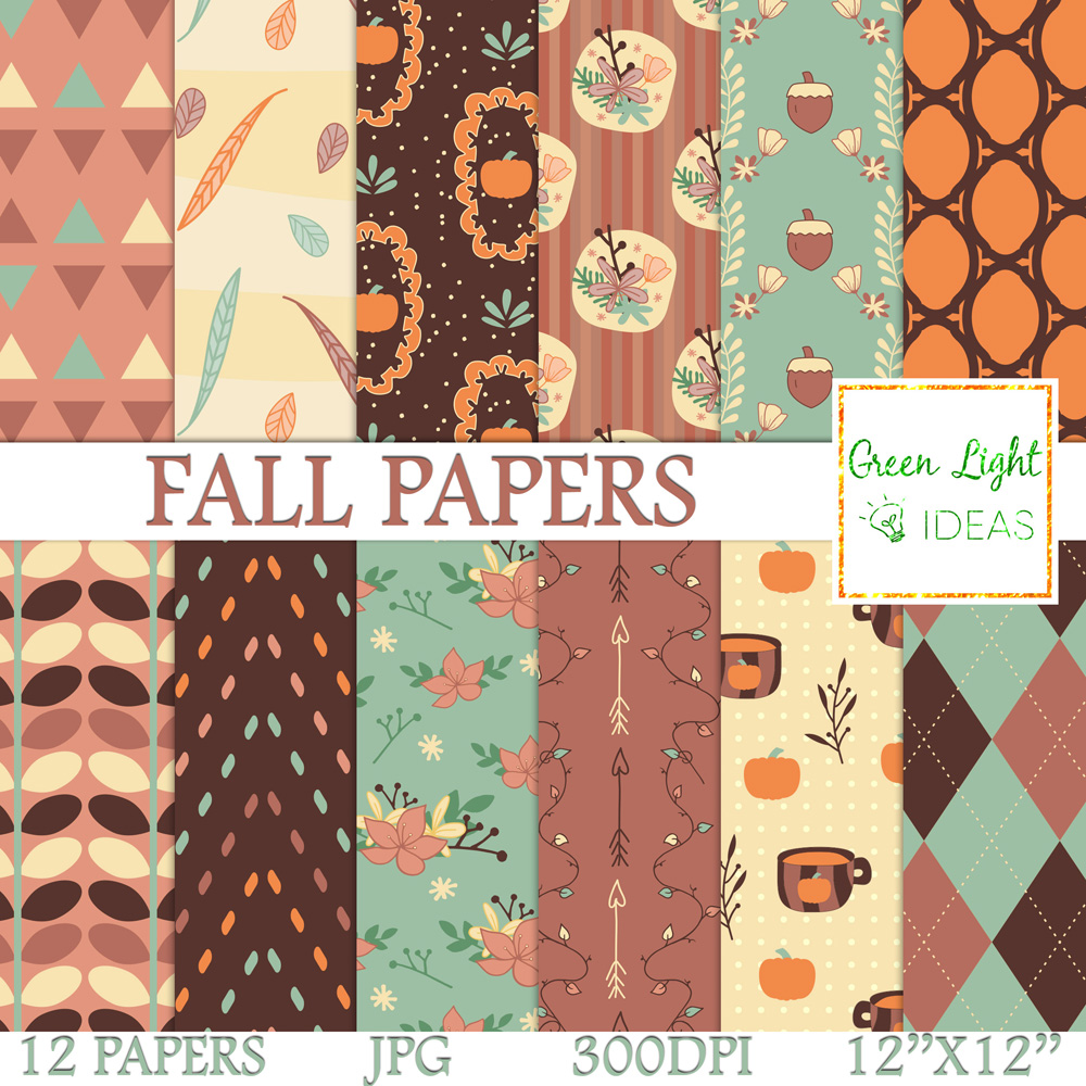 Fall Digital Papers Pumpkins Backgrounds Fall Floral Papers