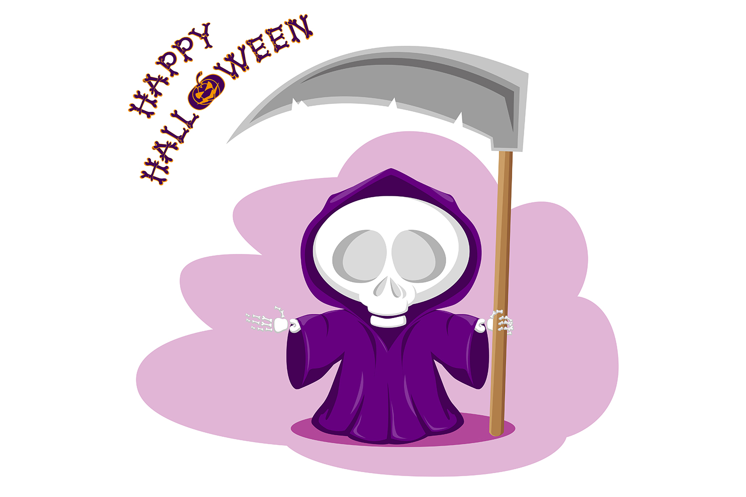 Set of 12 figure funny little death with large scythe and halloween pumpkin. Vector illustration example image 2