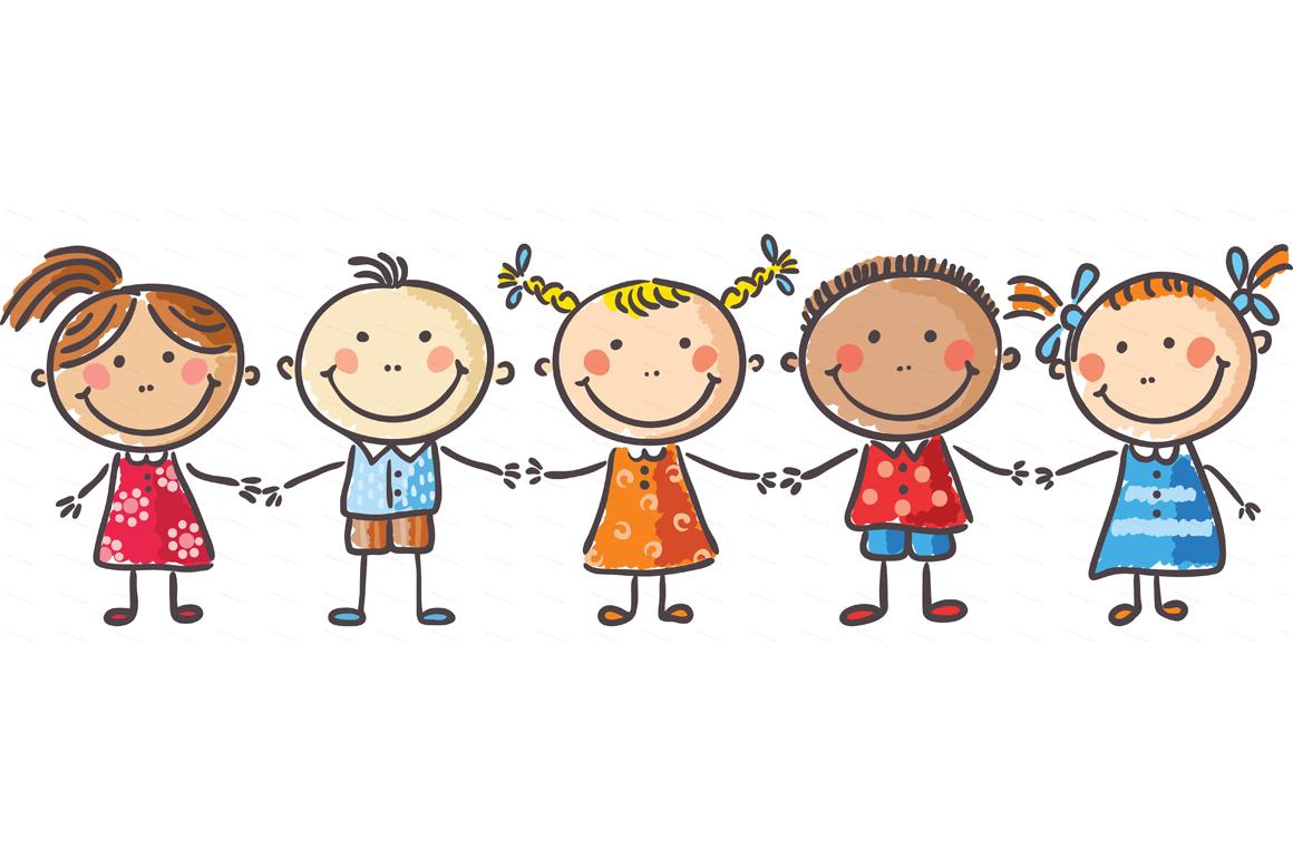 Happy Cartoon Kids Bundle, children doodle, kids doodle example image 8