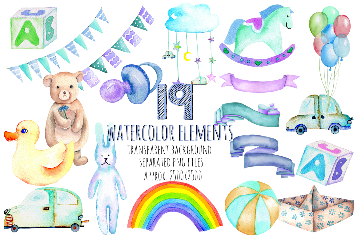 It's a Boy! watercolor clipart example image 2