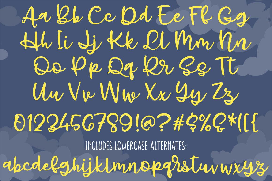 Gray Skies: handwritten script font example image 2