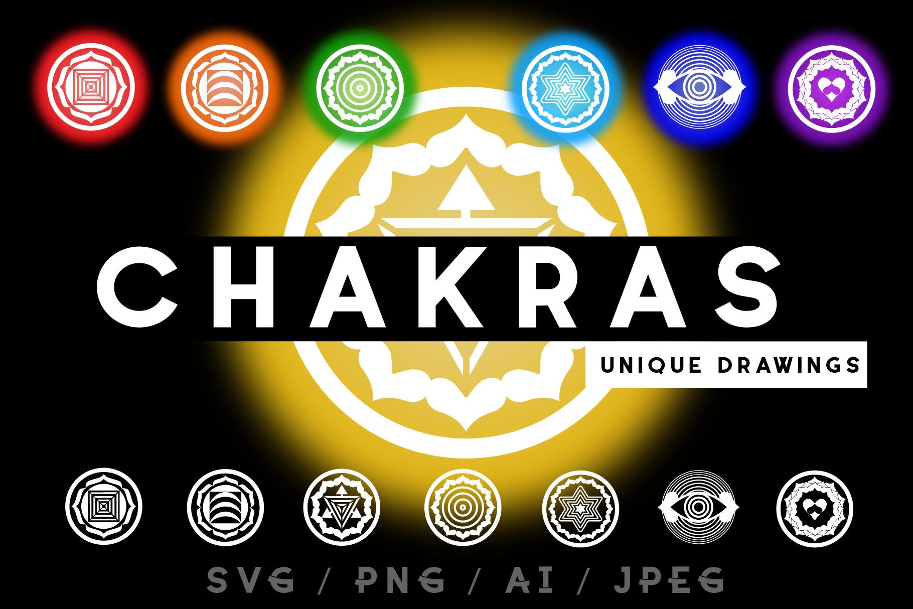 Chakras. Unique drawing. SVG/PNG/AI/JPEG example image 1