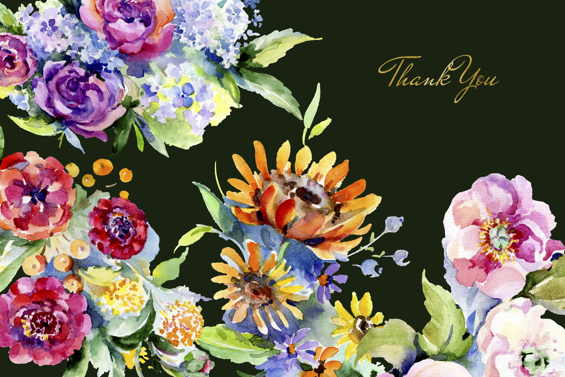 Bouquet of flowers between heaven and earth watercolor png example image 7