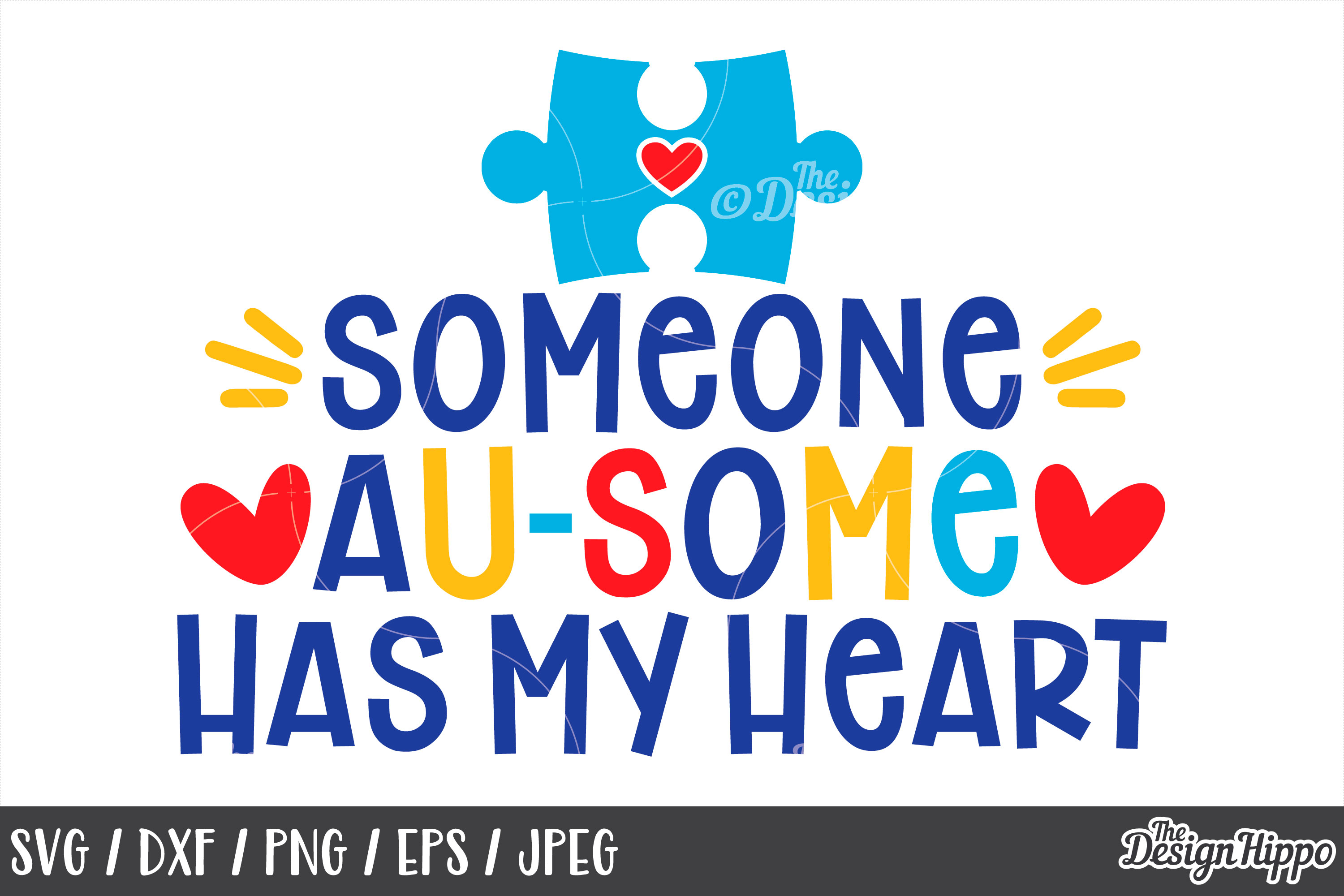 Autism Quote, Someone Au-Some Has My Heart SVG DXF PNG Files example image 1