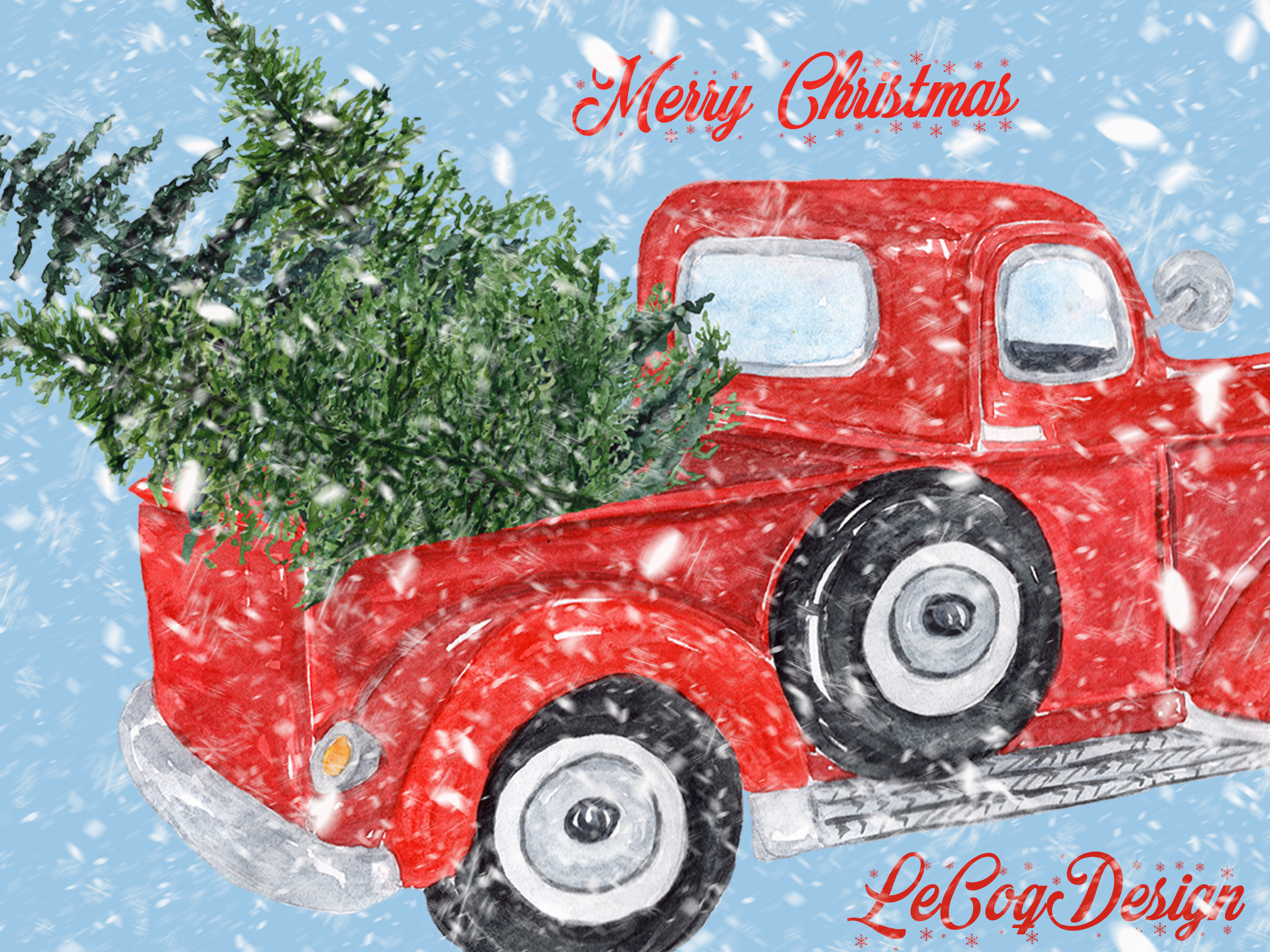 Watercolor Christmas clipart example image 4