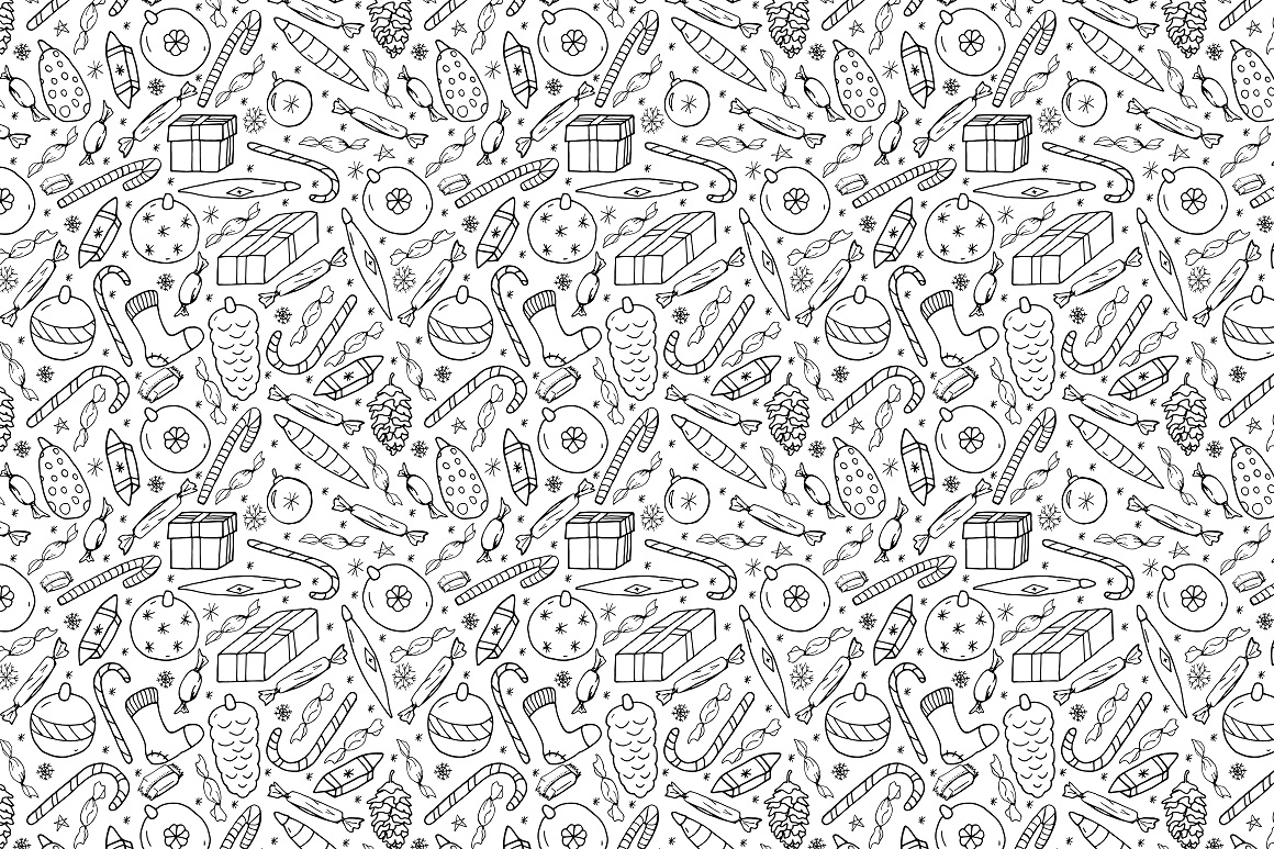 New Year seamless patterns example image 3