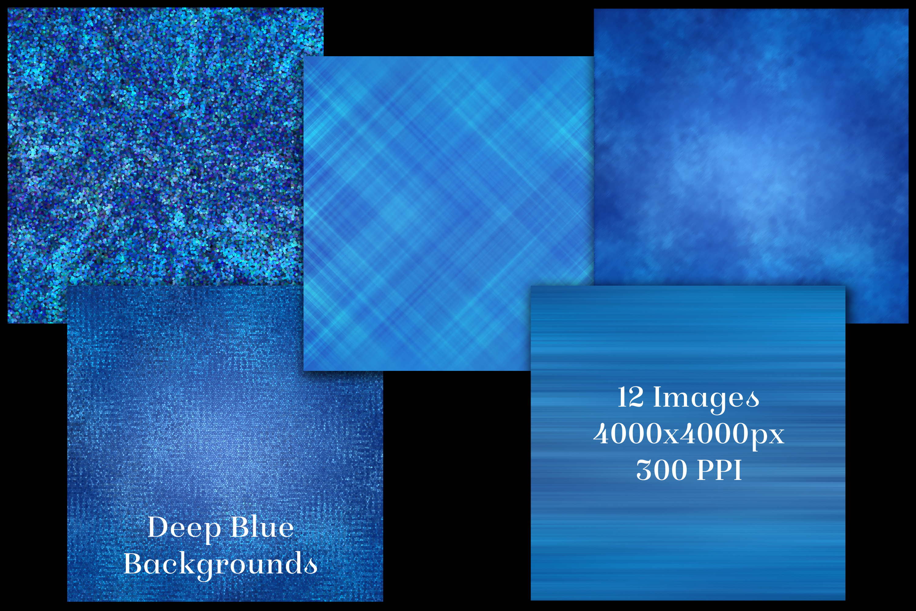 Deep Blue Backgrounds - 12 Image Textures Set example image 2