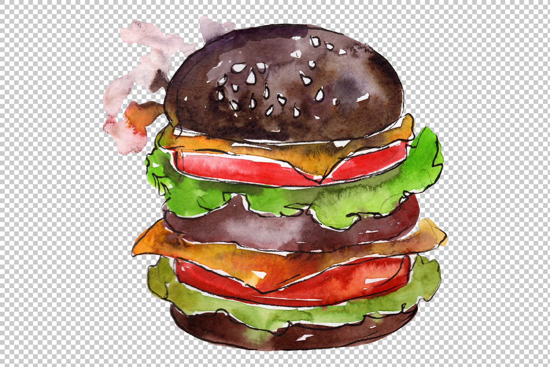 Hamburger black crunchy Watercolor png example image 3