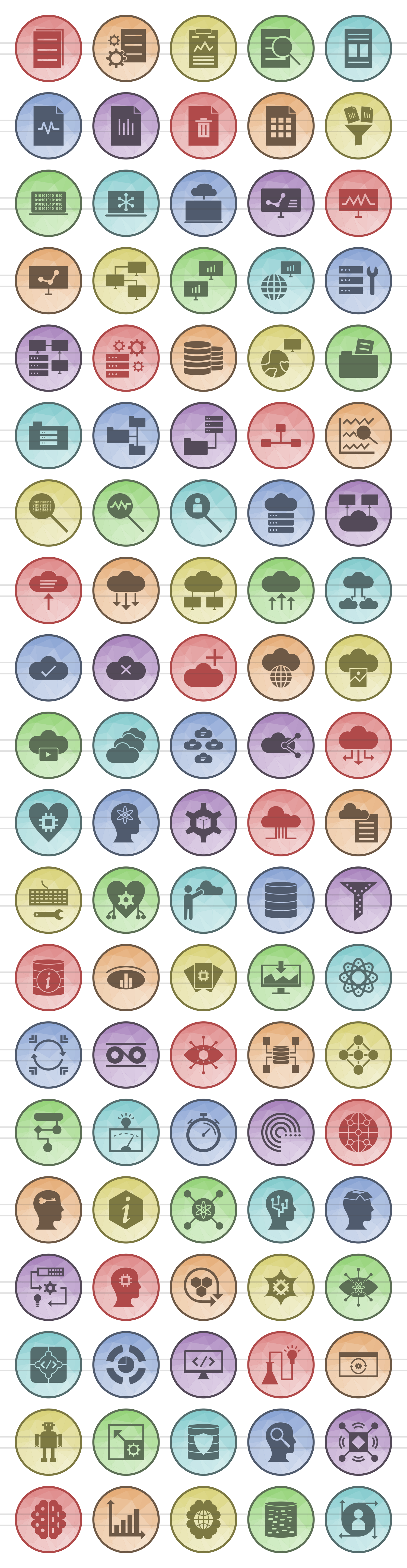 100 Data Filled Low Poly Icons example image 2