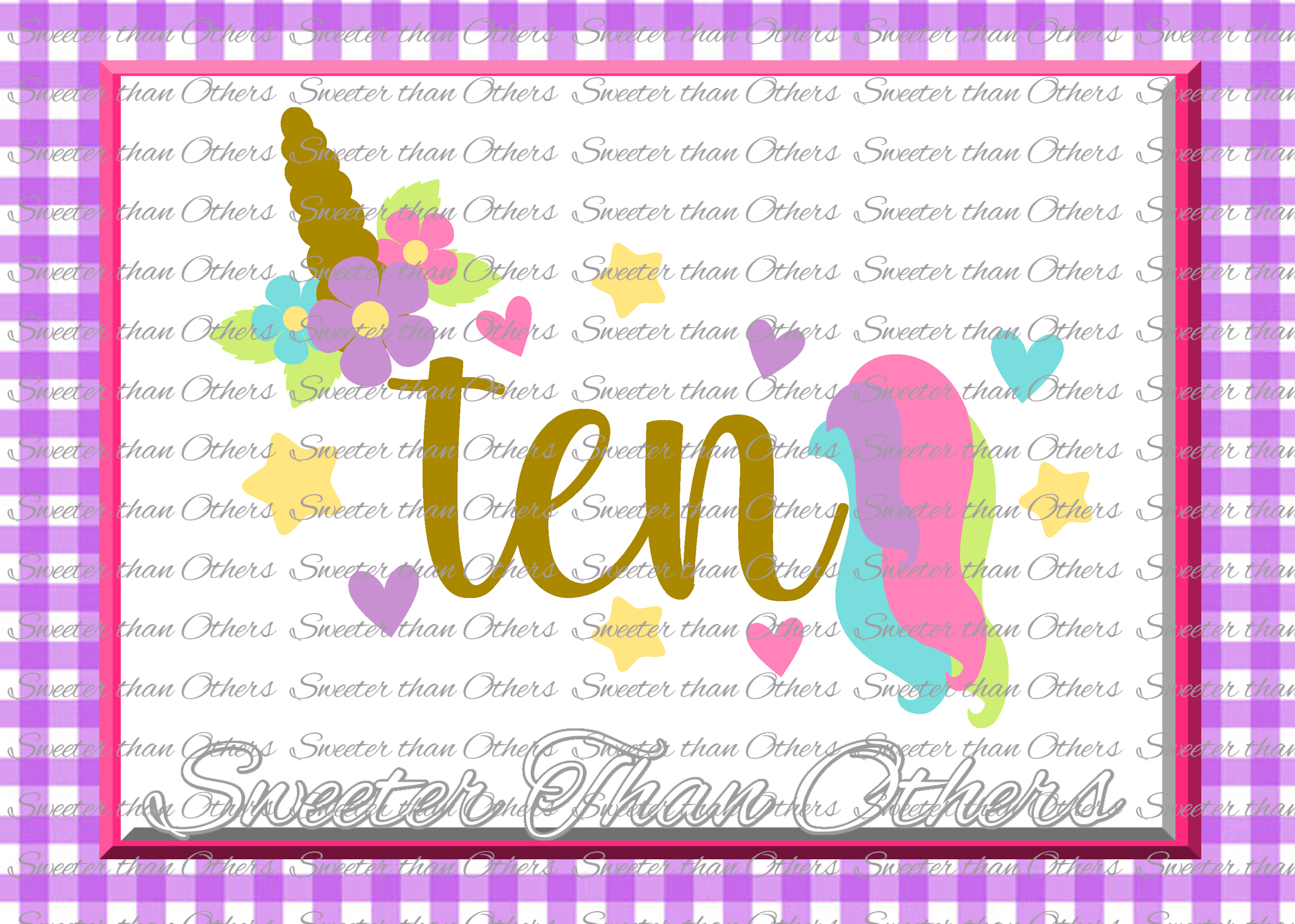 Tenth Birthday SVG, 10th Birthday Unicorn svg example image 1