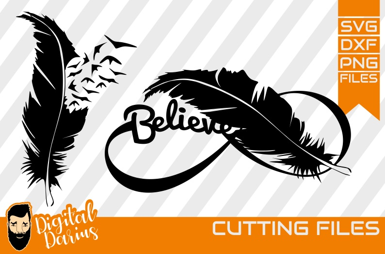 2x Believe Feather Svg, Feather svg, Digital, Dreamcatcher example image 1