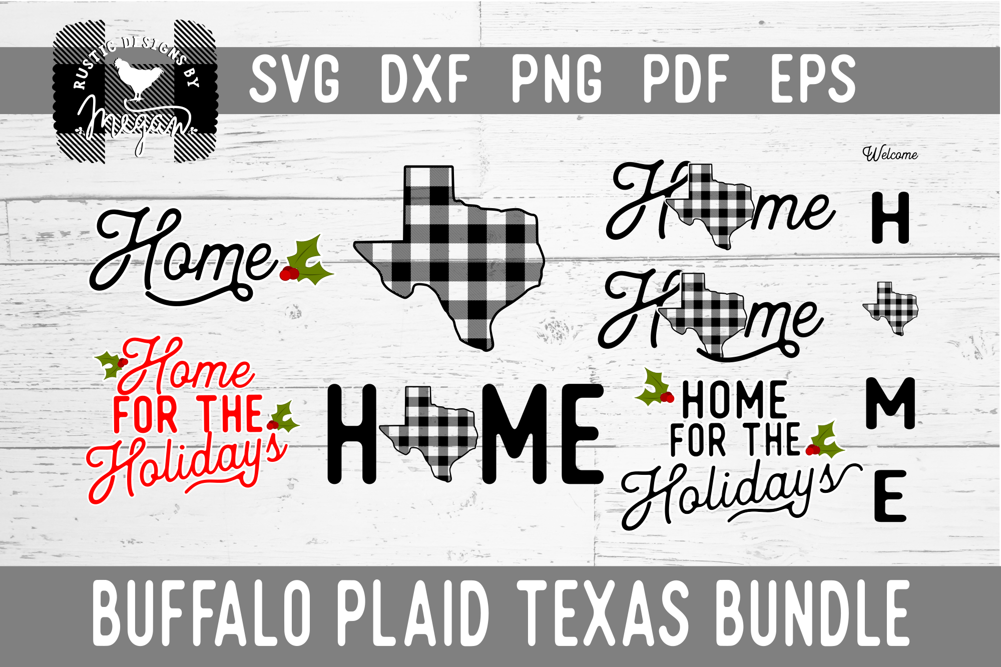 Texas Buffalo Plaid Bundle SVG DXF Cut File example image 1