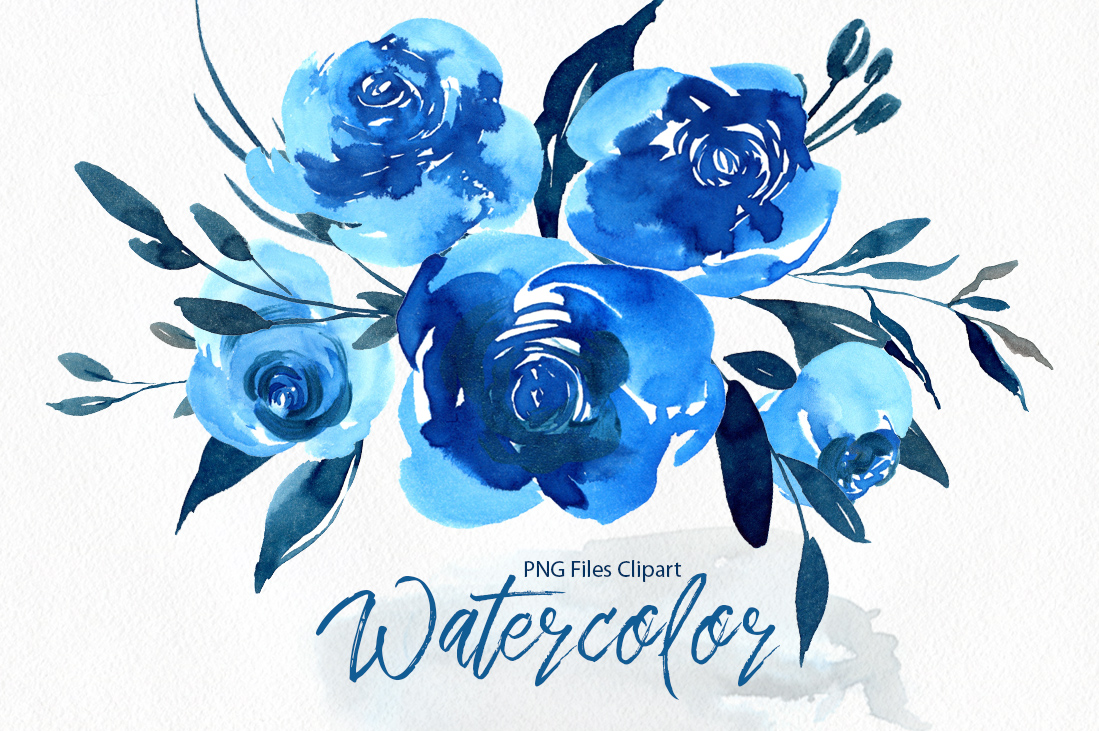 Watercolor Indigo Blue Roses Flowers PNG example image 1