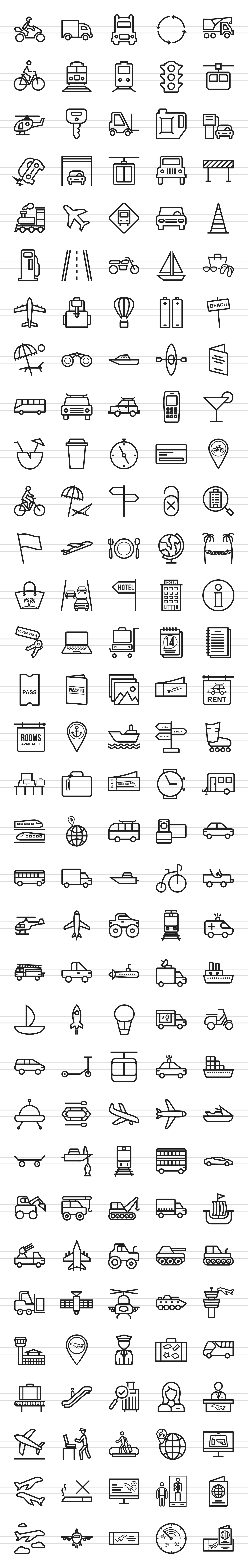 166 Transport Line Icons example image 2