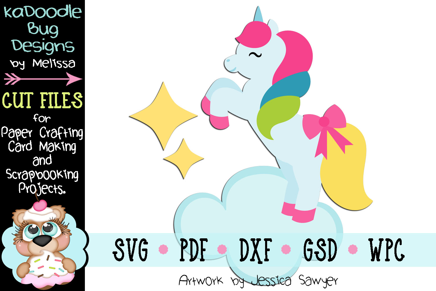 Cloud Unicorn Cut File - SVG PDF DXF GSD WPC example image 1