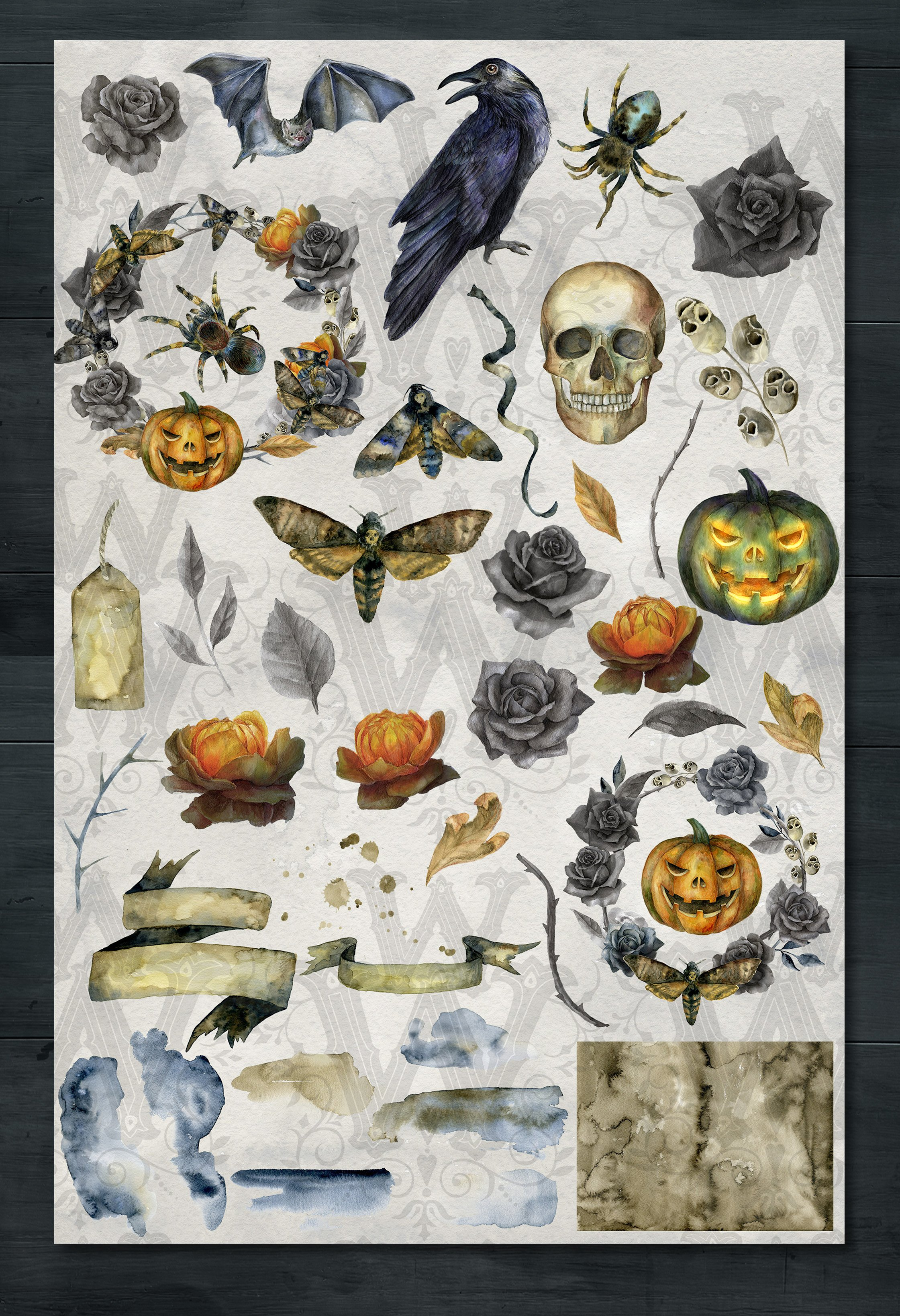 Spooky Halloween watercolor clipart graphics example image 2