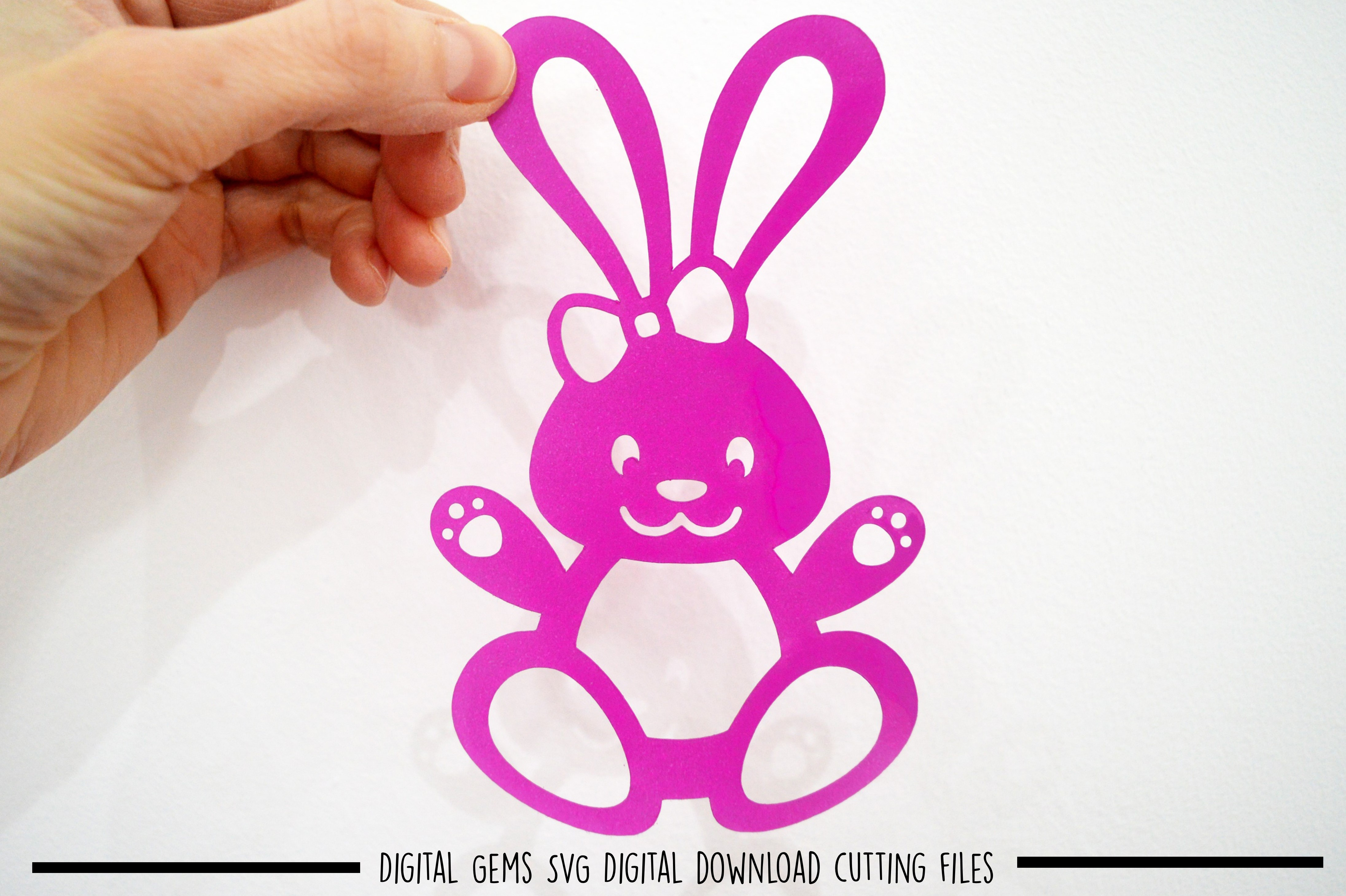 Rabbit paper cut SVG / DXF / EPS files example image 1