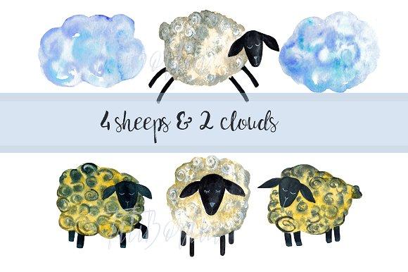 Baa Baa Black Sheep Watercolor Clipart example image 2