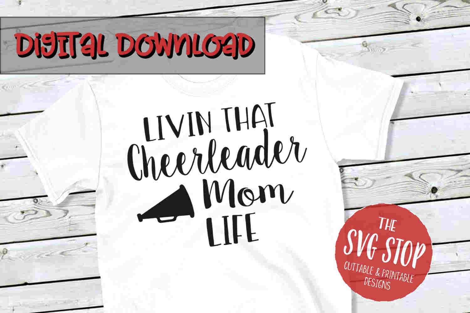 Cheerleader Mom Life -SVG, PNG, DXF example image 1