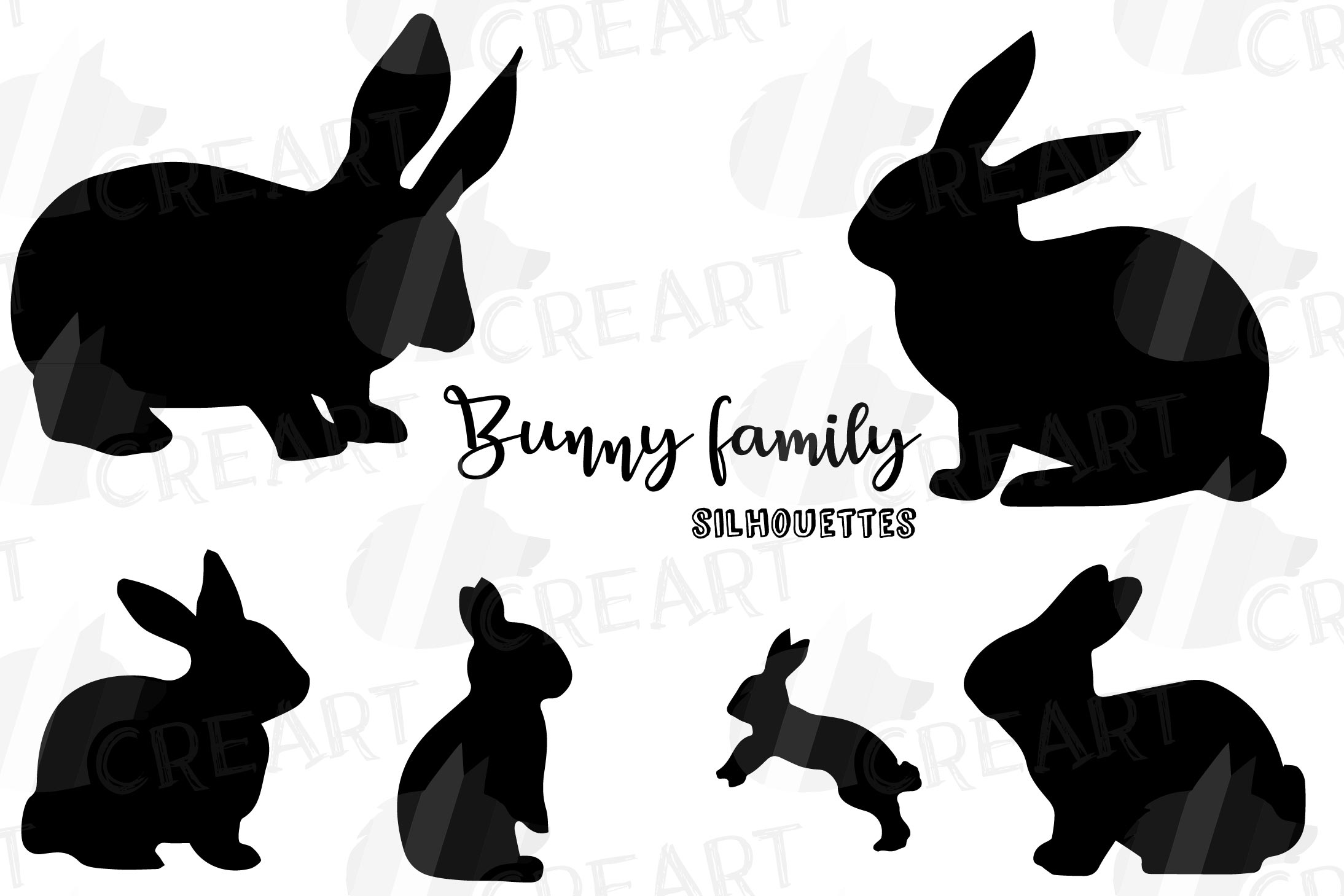 Rabbit family silhouettes, bunny silhouette svg cutting file example image 3