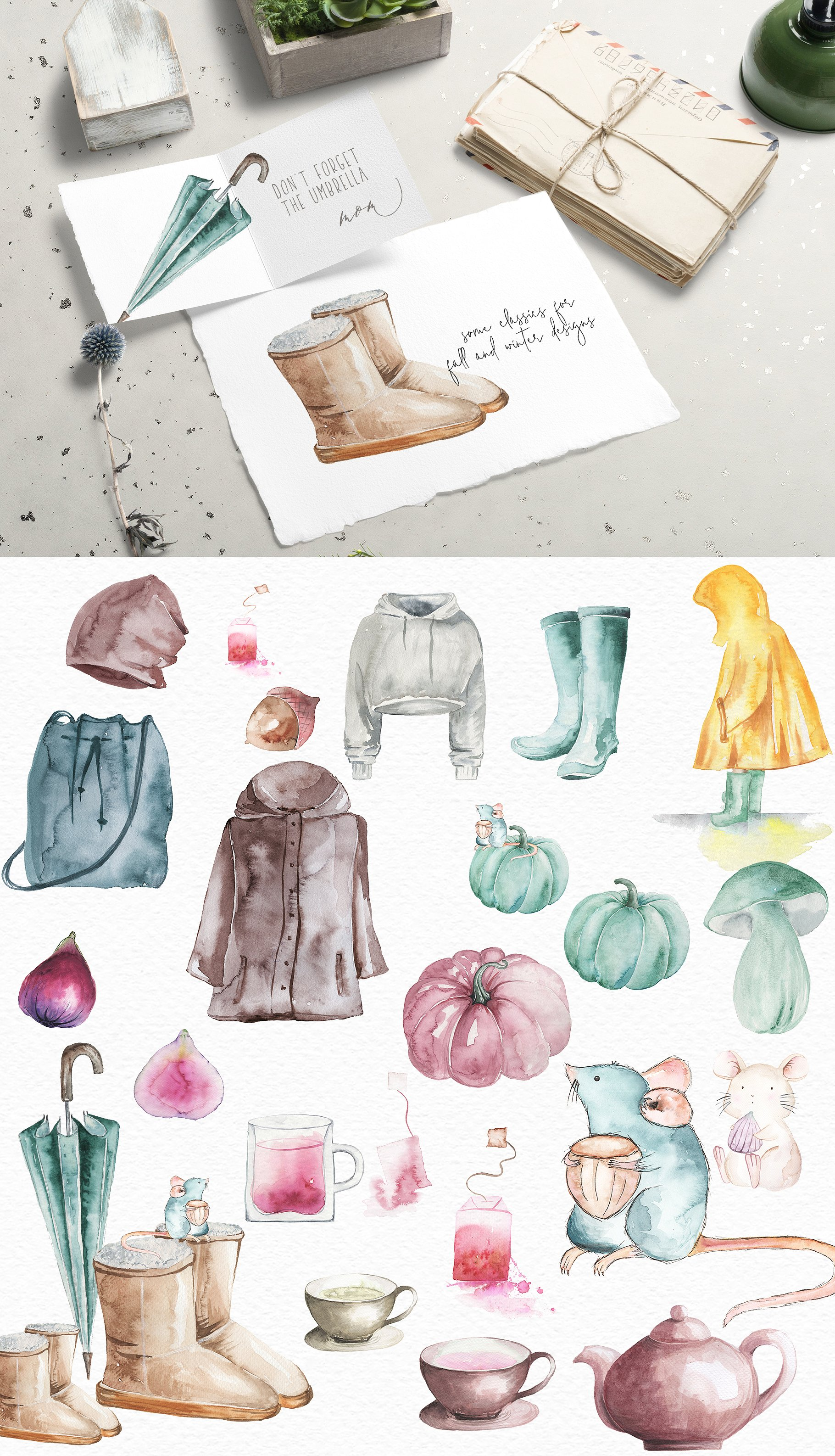 Classics of the fall - Watercolor Clipart example image 3