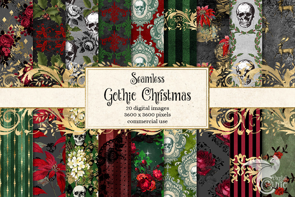 Gothic Christmas Digital Paper example image 1