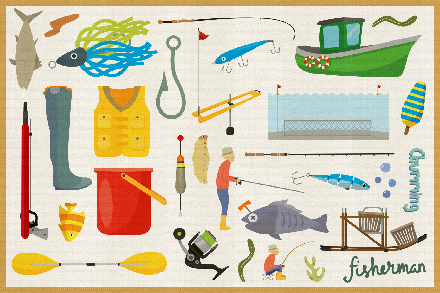 Fishing Time Vector Clipart and Seamless Pattern example image 4