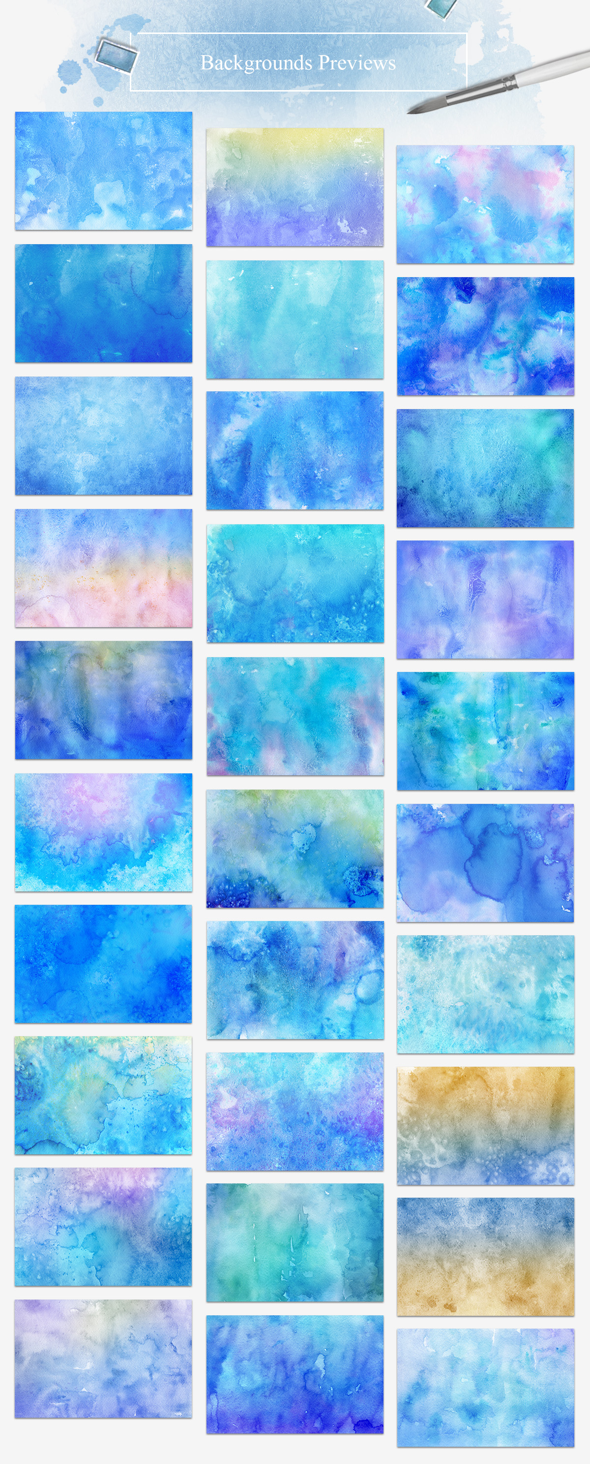 30 Winter Watercolor Backgrounds example image 2