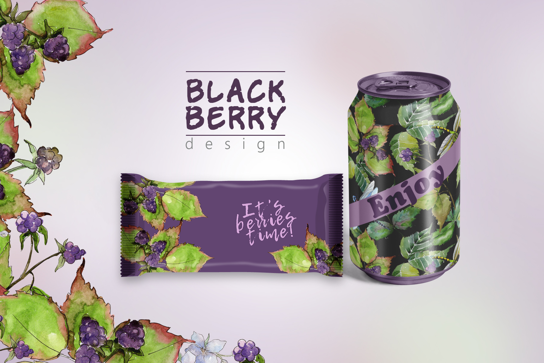 Sweetly blackberry JPG watercolor set  example image 2
