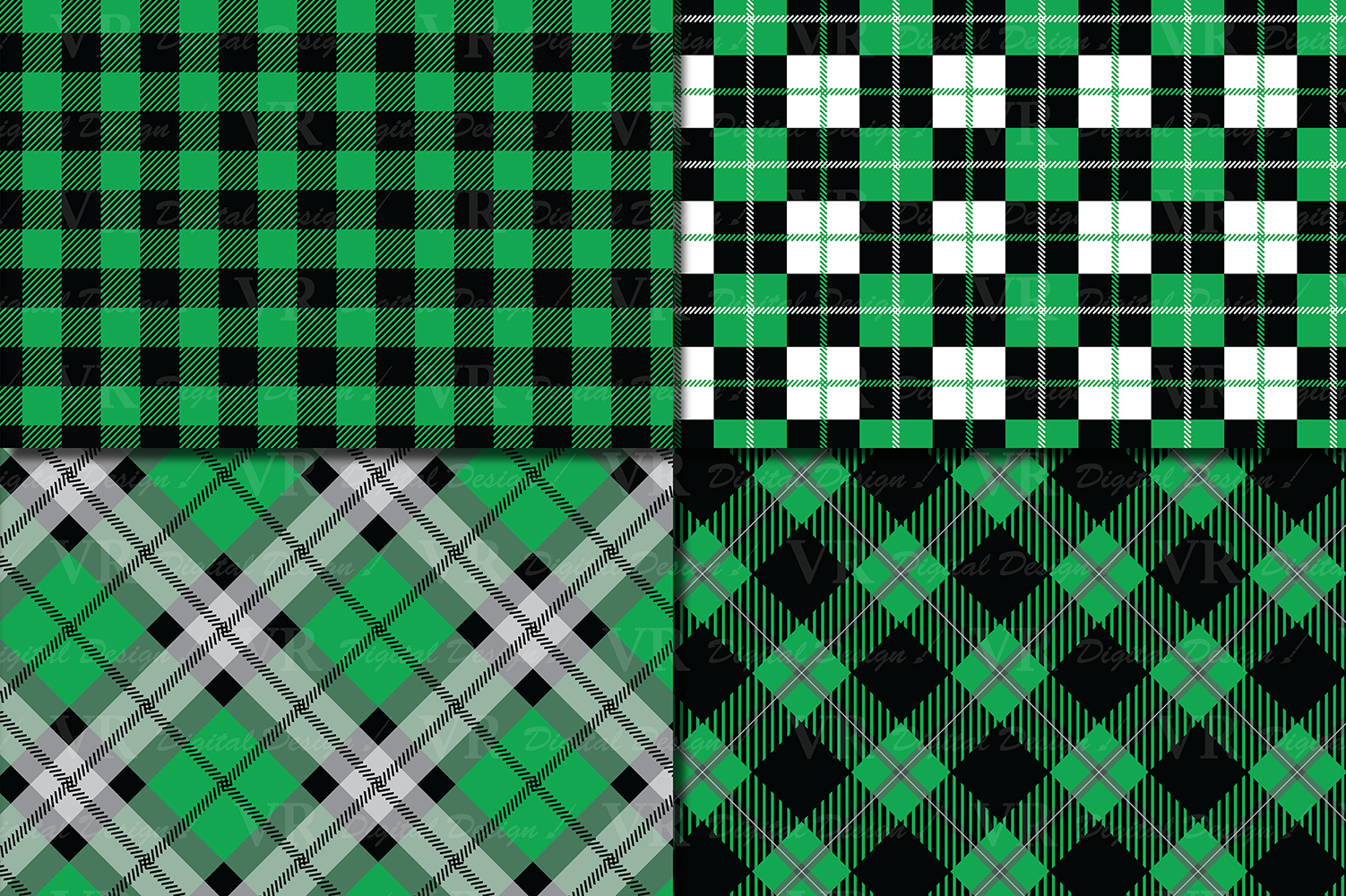 Green and Black Plaid Digital Papers / backgrounds example image 2