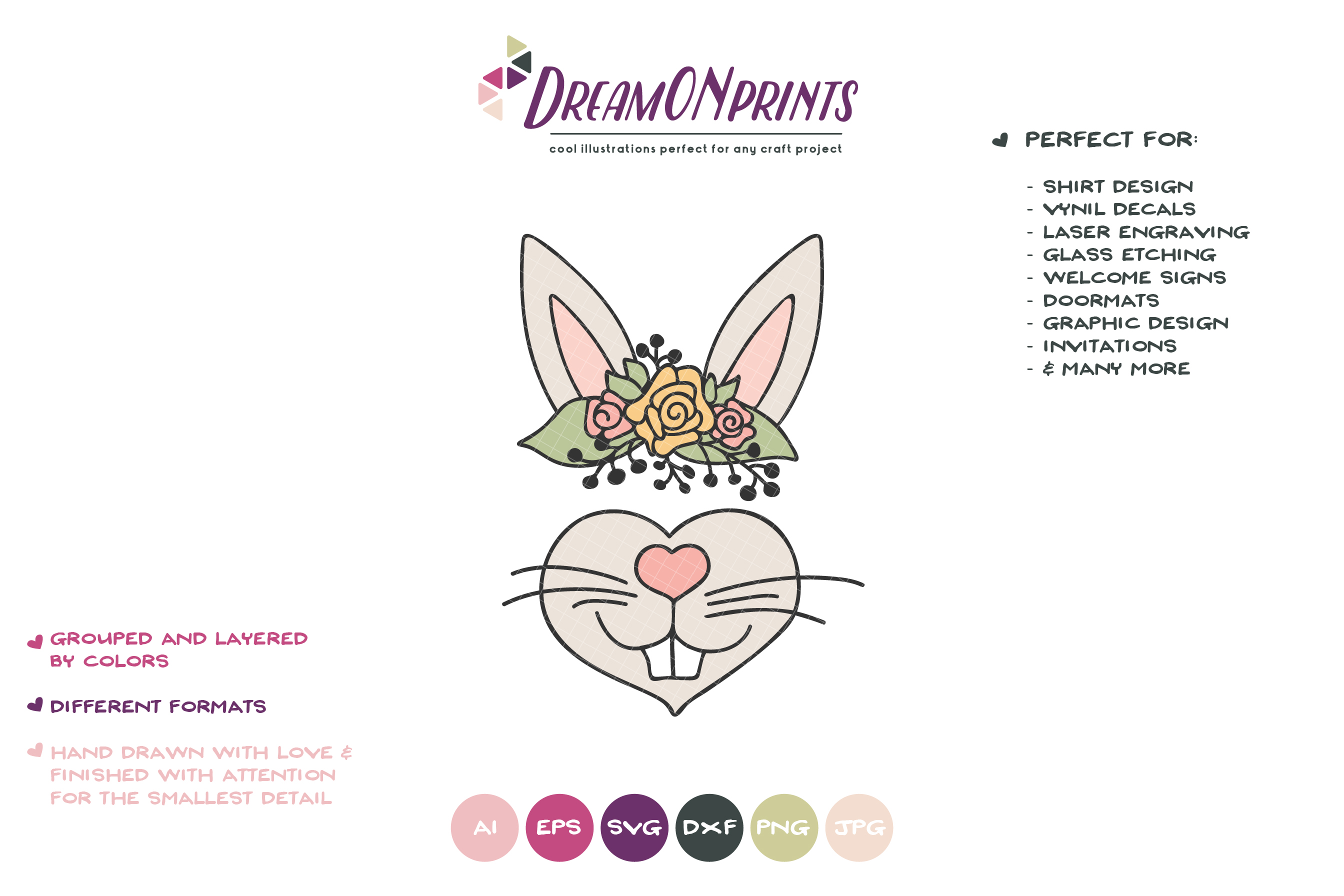 Bunny Face SVG Cut File - Cute Bunny Illustration example image 2