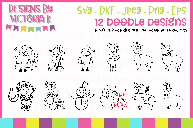 33 Christmas designs, 12 bonus doodle designs, SVG, DXF example image 3