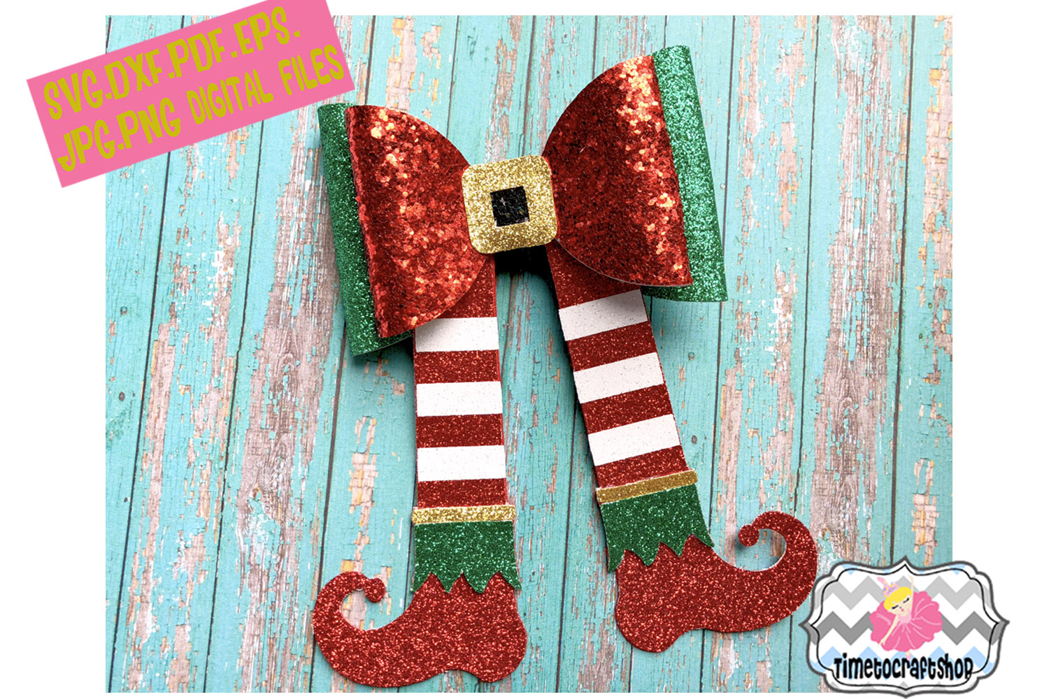 Holiday Christmas Hair Bow Template Bundle example image 5