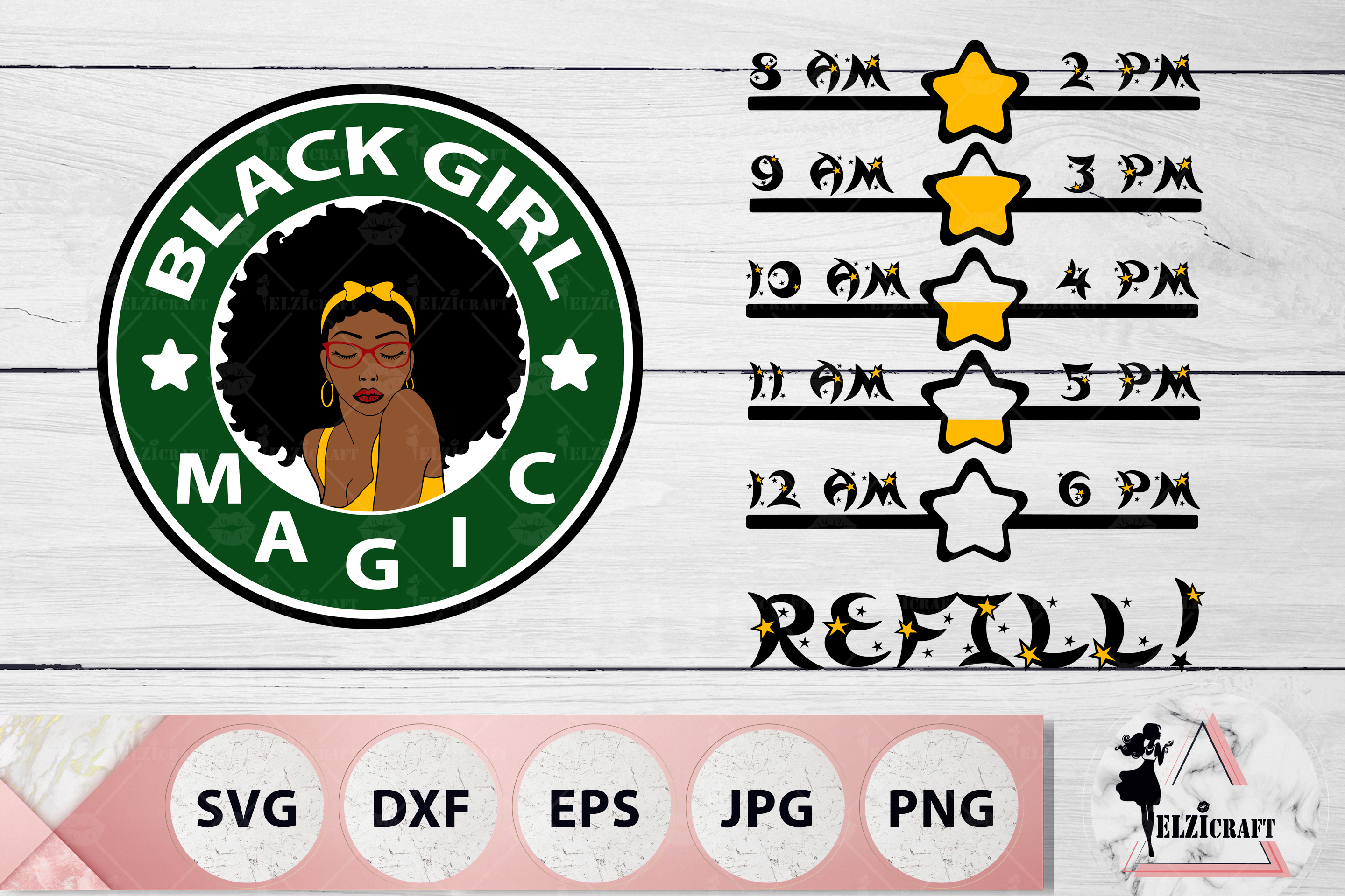 Water Bottle Tracker Black Girl Magic, Afro Woman SVG Files example image 1
