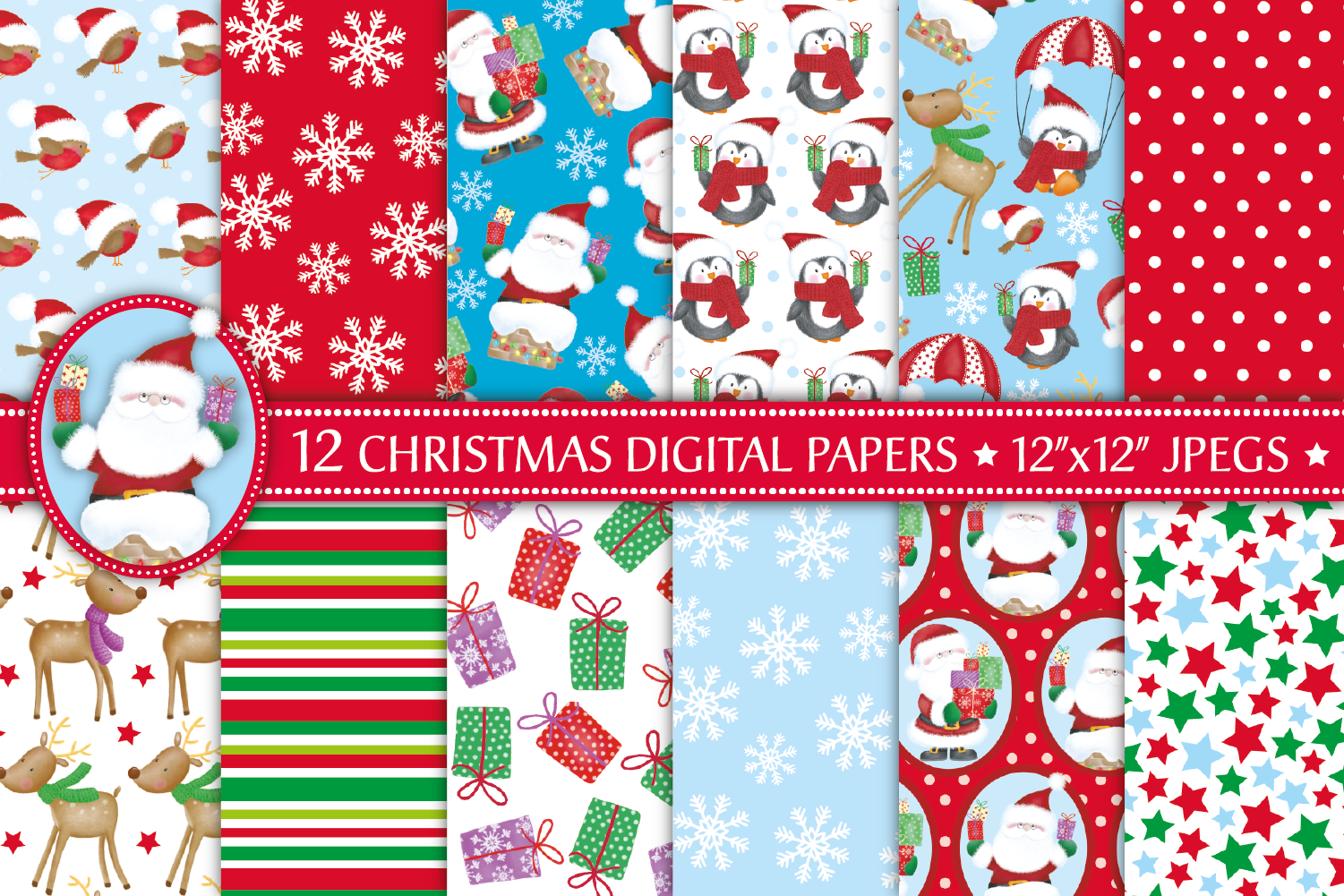 Christmas digital papers, Christmas patterns, Santa papers example image 1