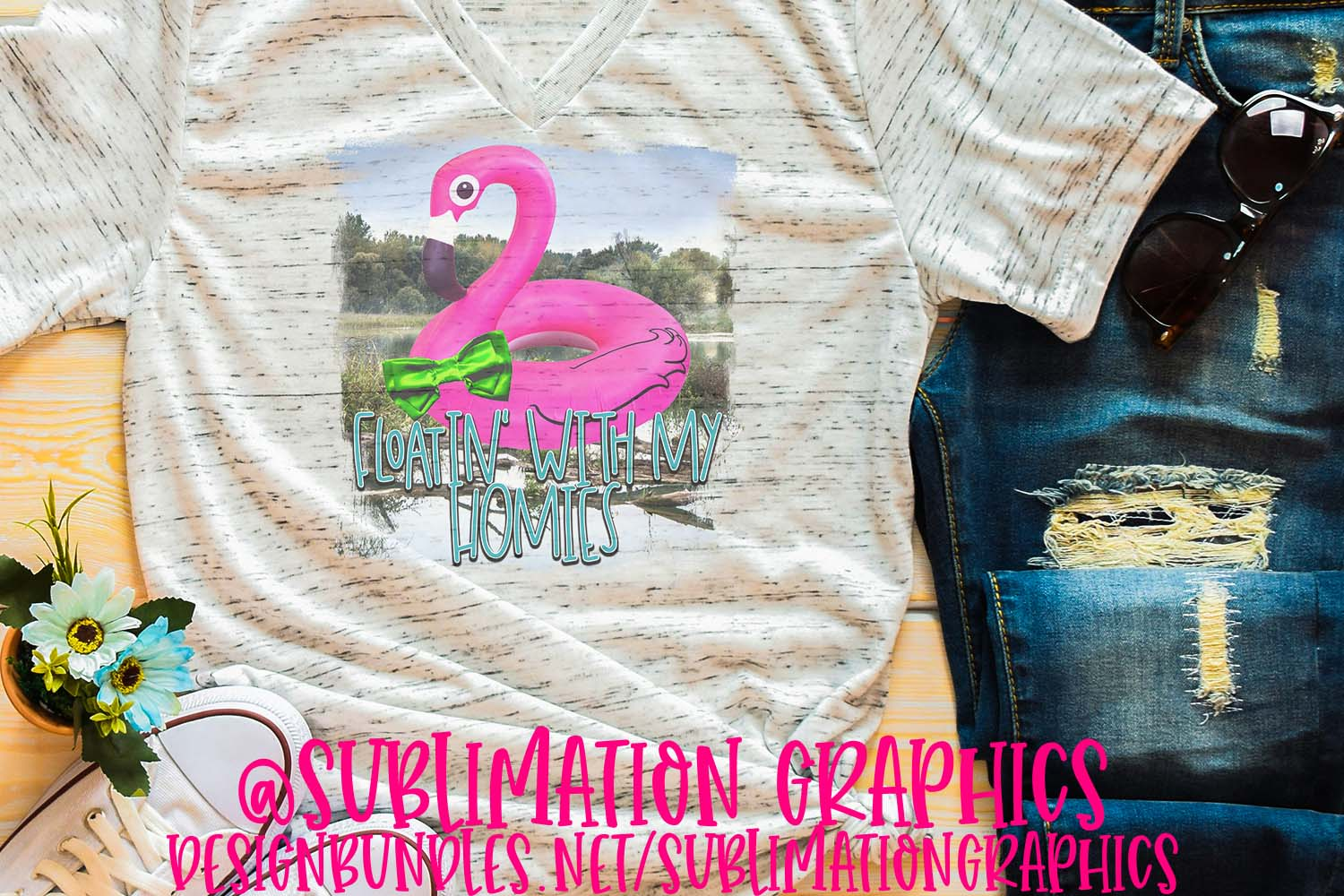 Floatin' With My Homies Sublimation PNG example image 1