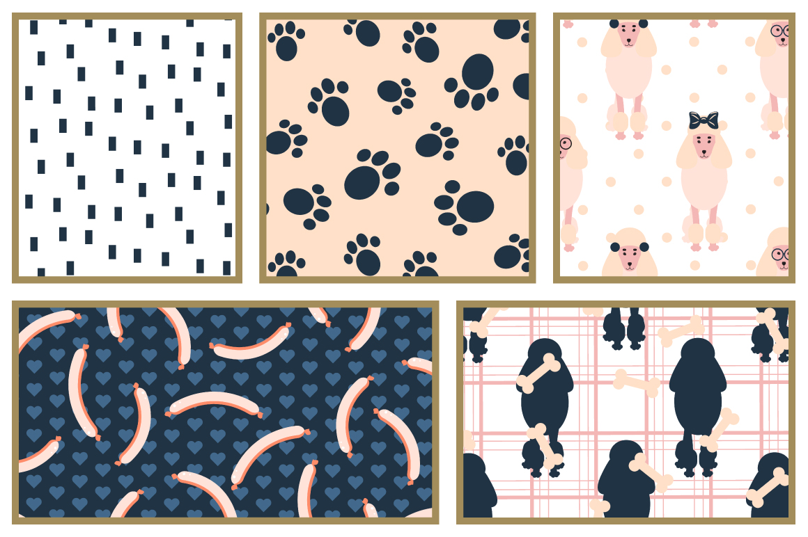 Mischievous Dogs seamless patterns example image 4