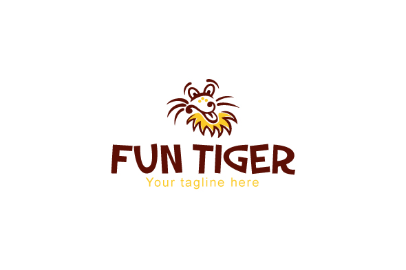 Fun Tiger - Comic Animal Graphic Stock Logo Design Template example image 1
