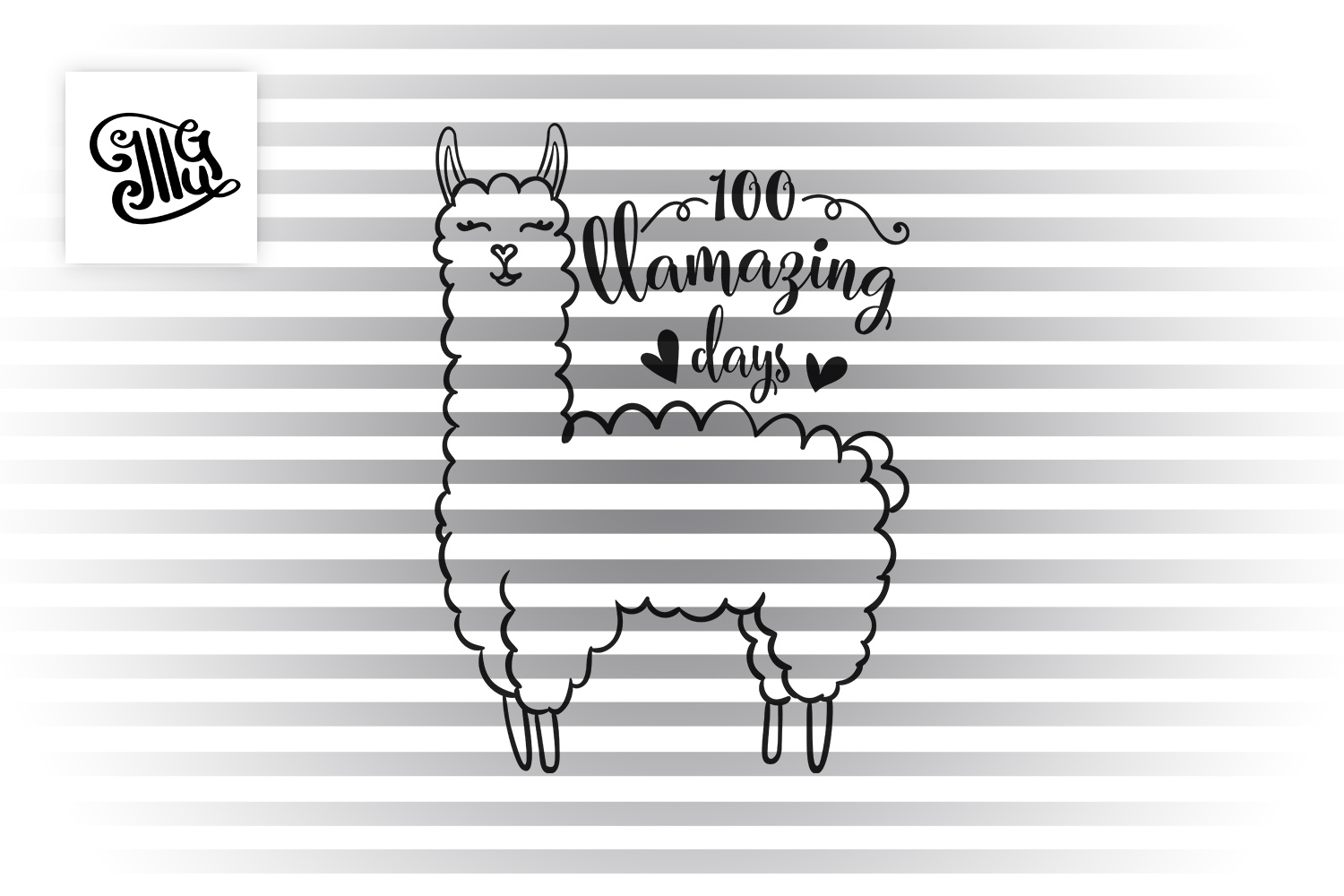 100 days of school for girl and teacher svg with llama example image 2