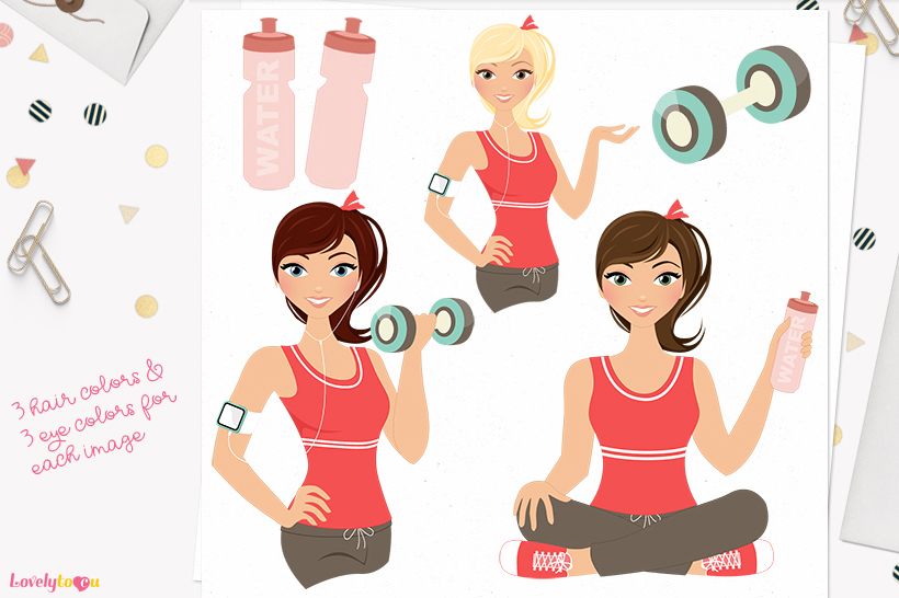 Woman workout character clip art L081 Piper example image 1