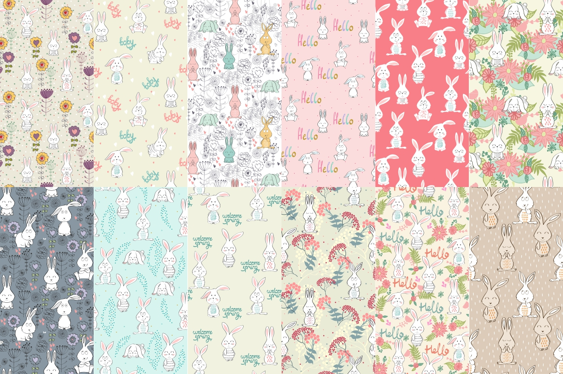 Childrens seamless patterns example image 5