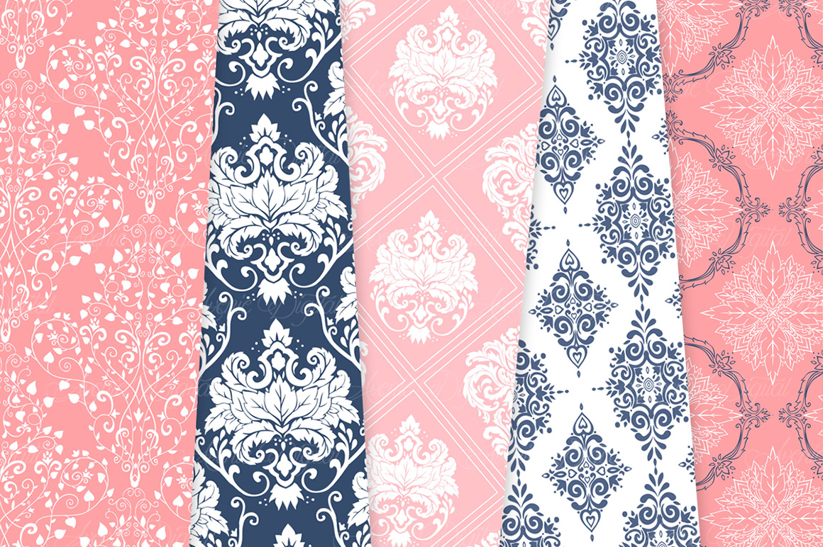 Coral and Navy Damask Patterns - Seamless Digital Papers example image 6