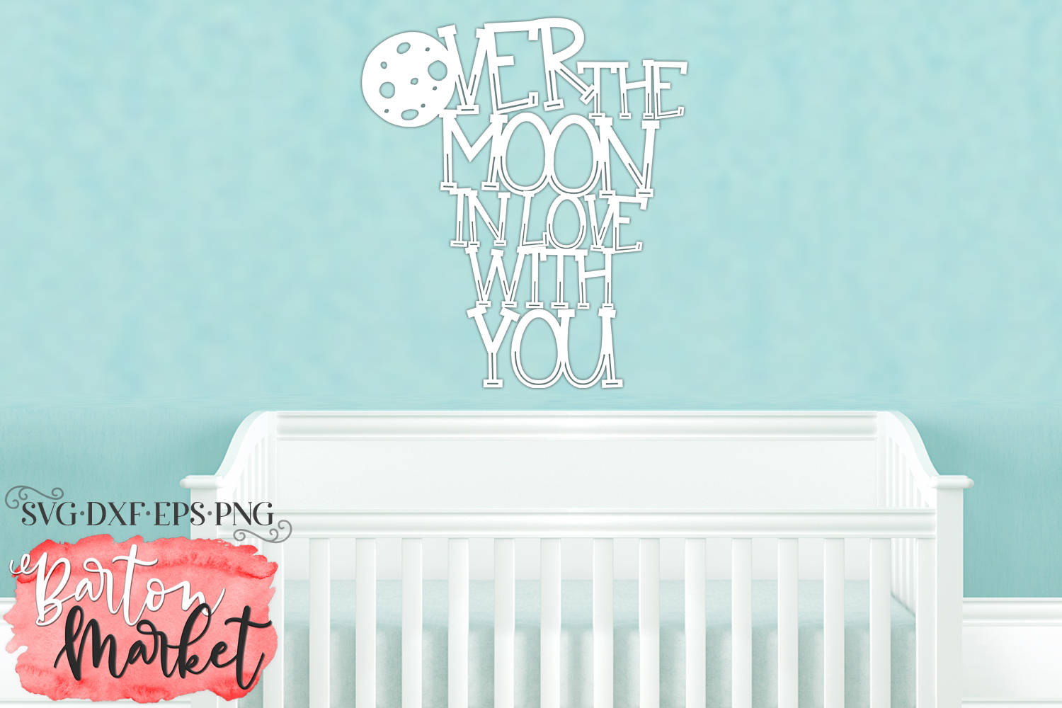 Over the Moon SVG DXF EPS PNG example image 3