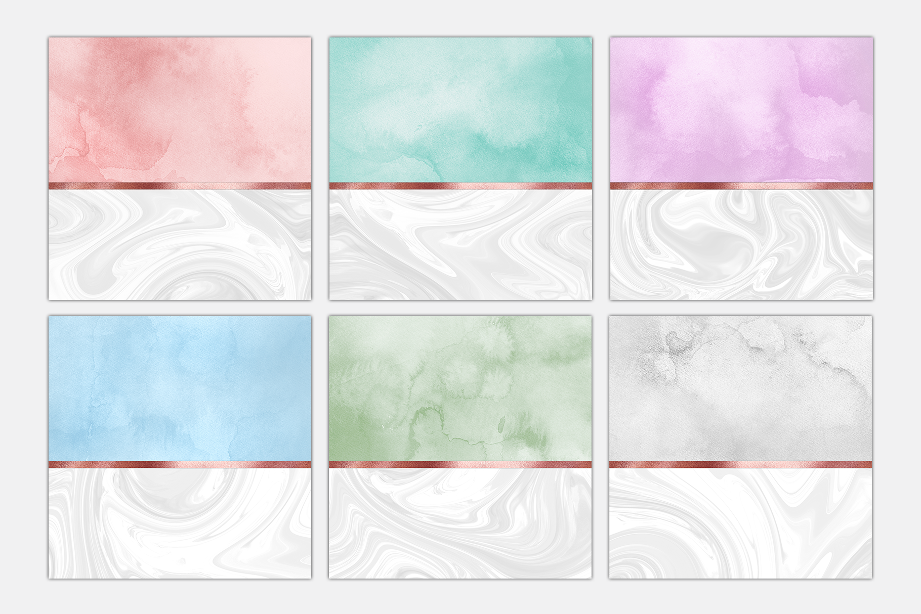 Pastel Marble Watercolor Rose Gold Foil Textures | 6 Pack example image 2