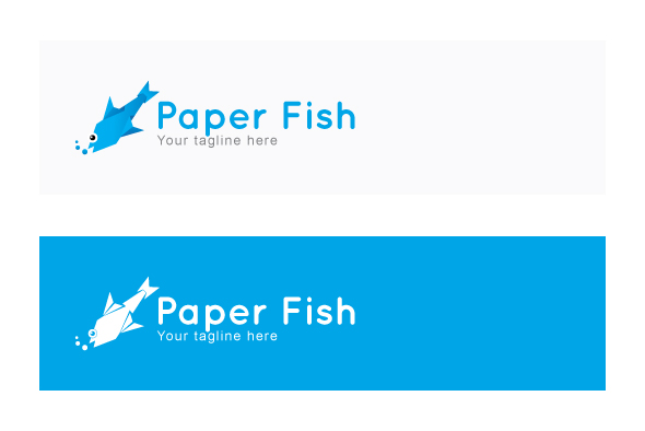 Paper Fish - Origami Water Creature Stock Logo example image 2